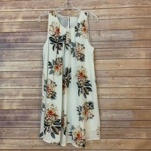 Umgee White Floral Dress w/ trim cream flowers